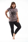 Plus Size Women's Octopus T-Shirts Brown