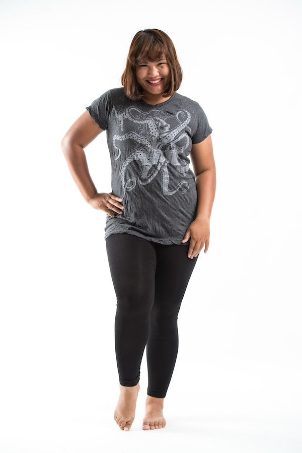 Plus Size Women's Octopus T-Shirts Silver on Black
