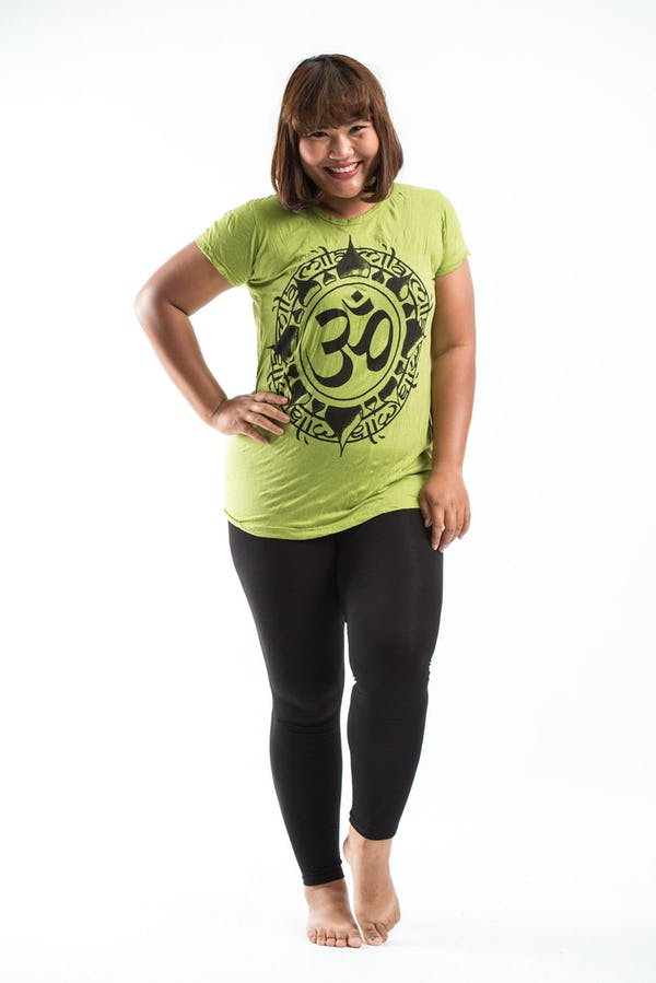 Plus Size Women's Infinitee Ohm T-Shirts Lime