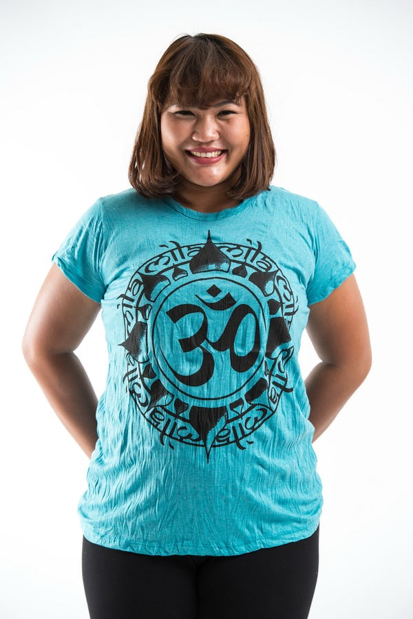 Plus Size Womens Infinitee Om T-Shirt in Turquoise