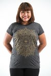 Plus Size Women's Lotus Mandala T-Shirts Gold on Black