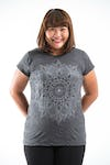 Plus Size Women's Lotus Mandala T-Shirts Silver on Black