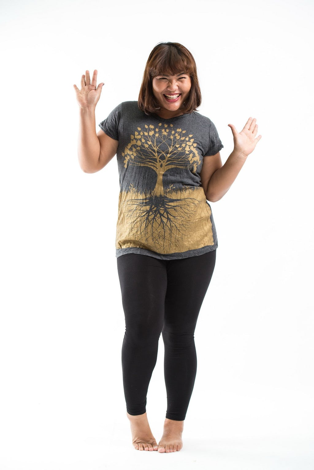 Plus Size Women\'s Tree of Life T-Shirts Gold on Black | Sure Design