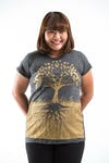 Plus Size Women's Tree of Life T-Shirts Gold on Black