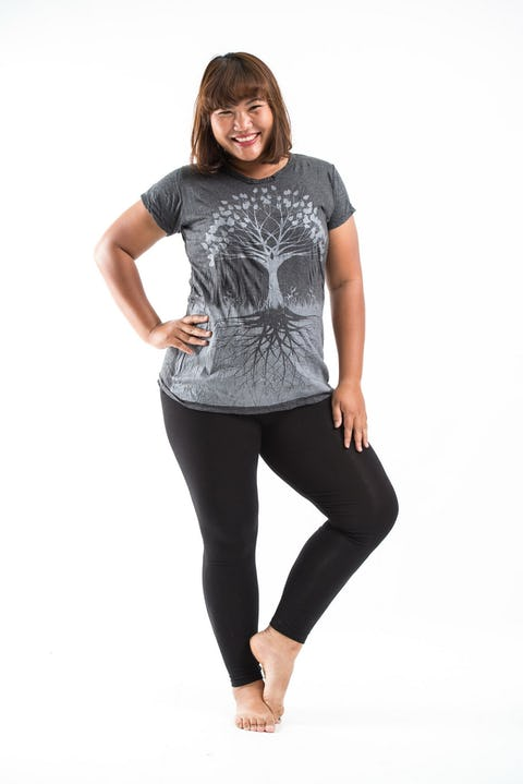 Plus Size Womens Tree of Life T-Shirt in Silver on Black
