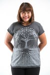 Plus Size Women's Tree of Life T-Shirts Silver on Black