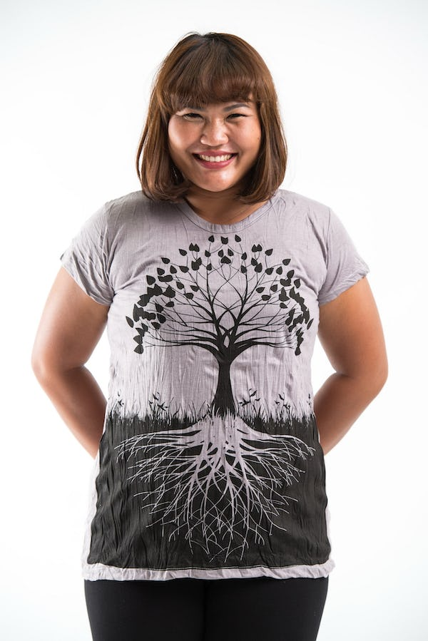 Plus Size Women's Tree of Life T-Shirts Gray