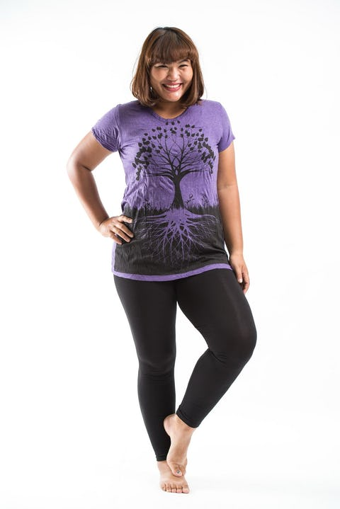 Plus Size Womens Tree of Life T-Shirt in Purple