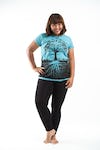 Plus Size Women's Tree of Life T-Shirts Turquoise
