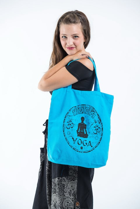 NEW Recycled Cotton Canvass Shopping Tote Bag Yoga Blue