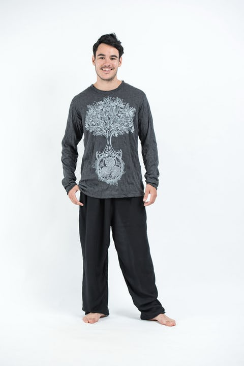 Sure Design Unisex Celtic Tree Long Sleeve Shirts Silver on Black