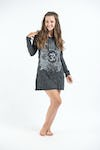 Sure Design Womens Ohm and Koi Fish Hoodie Dress Silver on Black