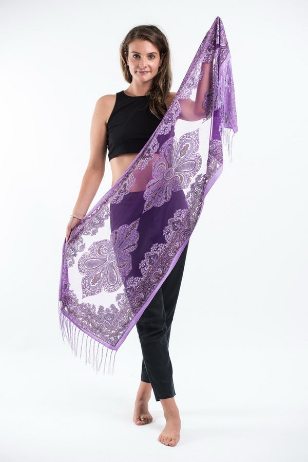 Nepal Hand Made Silky Lace  Shawl Scarf Grapes