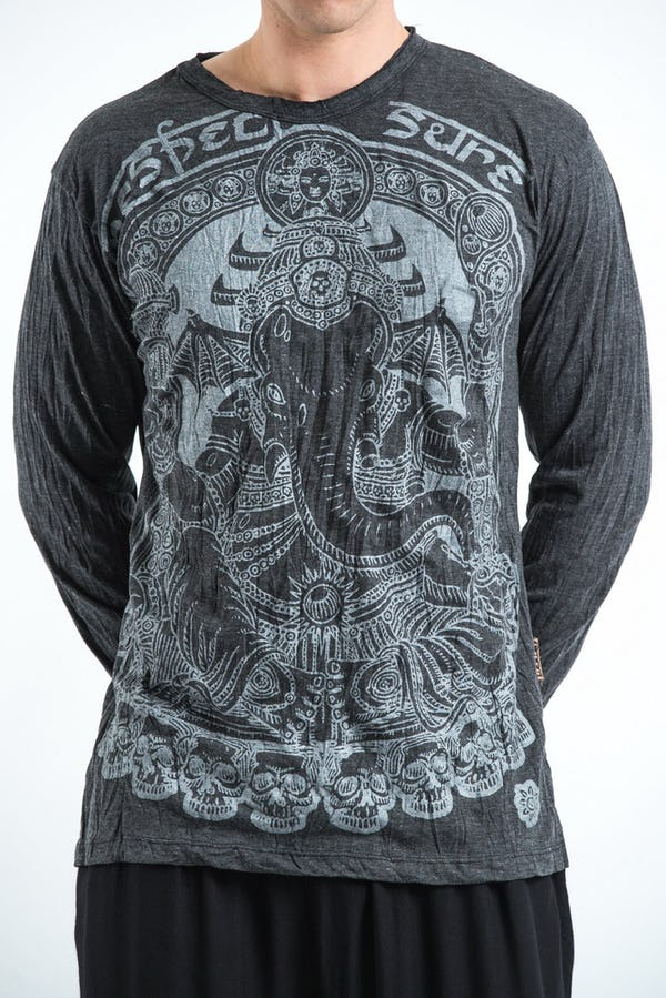 Unisex Batman Ganesh Long Sleeve T-Shirt in Silver on Black