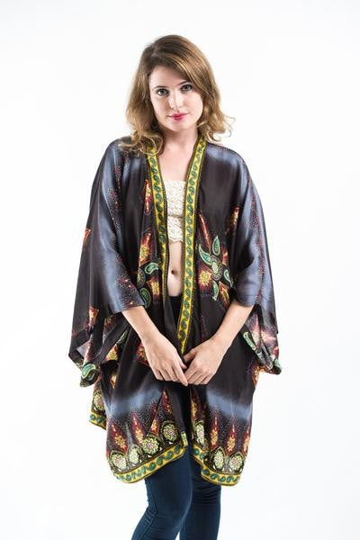 Paisley Stars Kimono Cardigan in Black | Sure Design