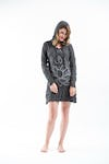 Sure Design Womens Lotus Ohm Hoodie Dress Silver on Black