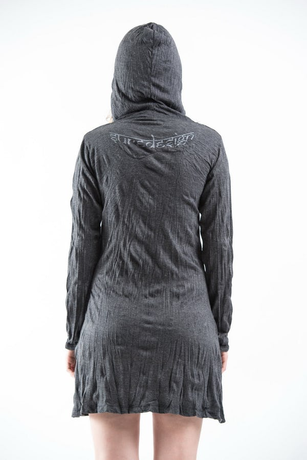 Womens Lotus Om Hoodie Dress in Silver on Black