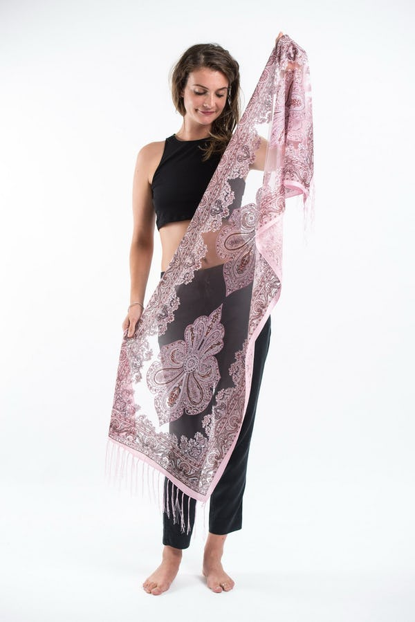 Nepal Hand Made Silky Lace  Shawl Scarf Pink