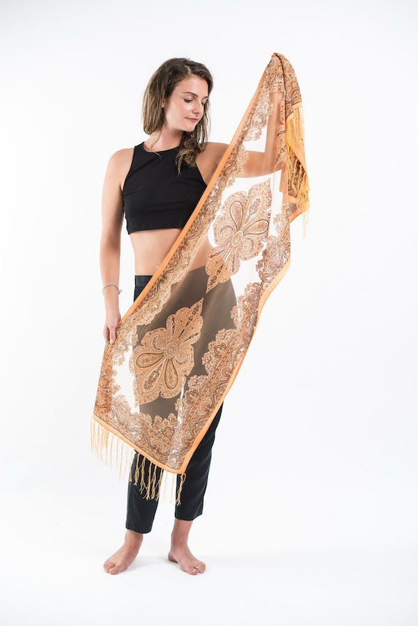 Nepal Hand Made Silky Lace  Shawl Scarf Gold