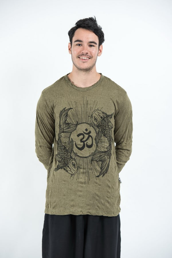 Sure Design Unisex Ohm and Koi Fish Long Sleeve Shirt Green