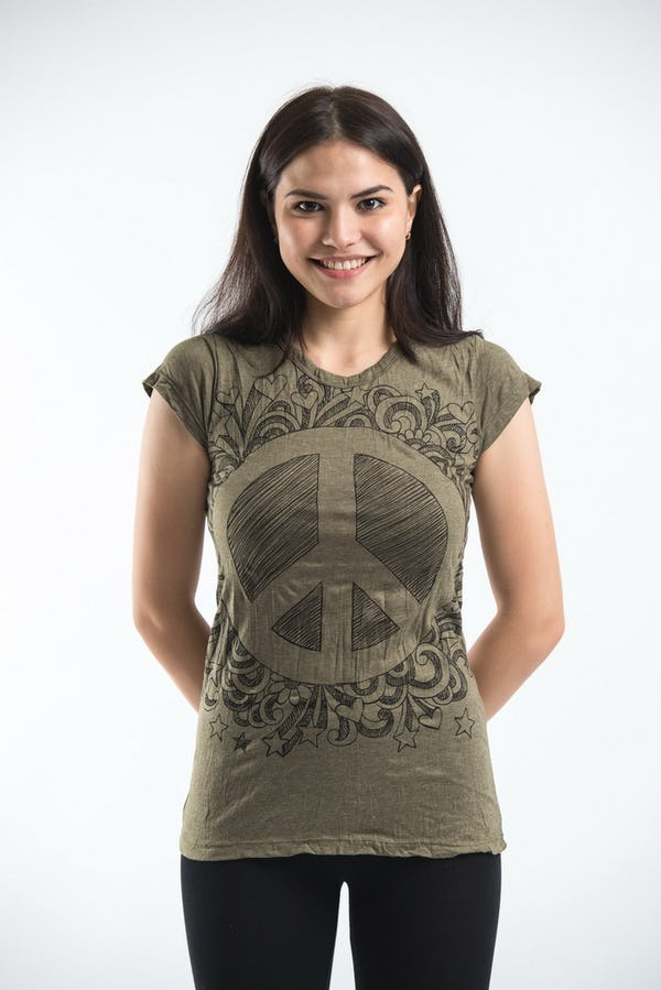 Sure Design Womens Peace Sign Infi T-Shirt Green