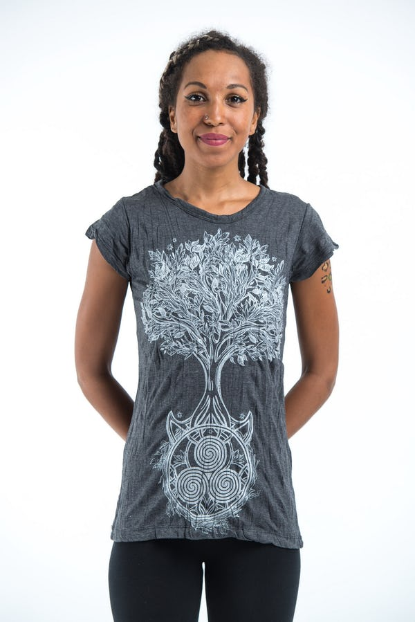 Sure Design Womens Celtic Tree T-Shirt Silver on Black