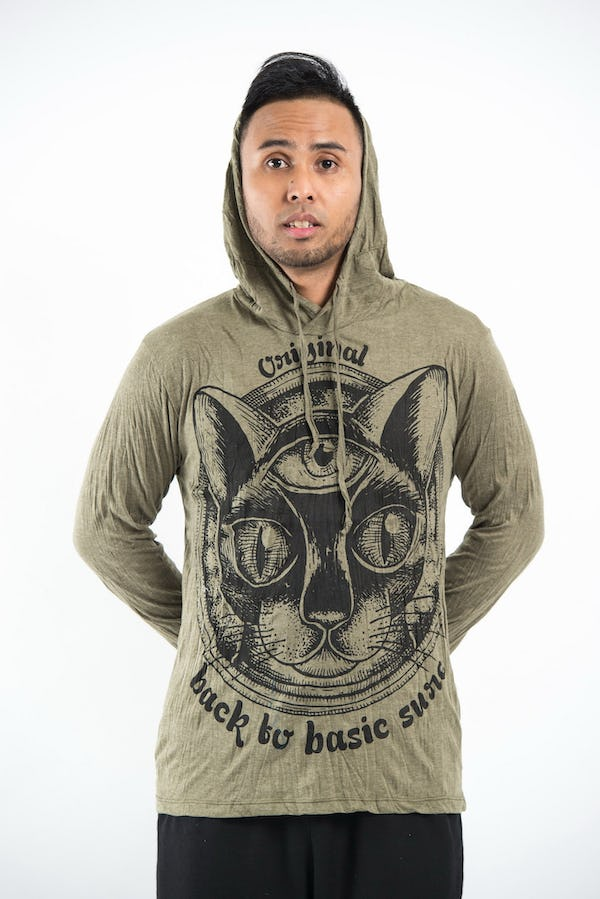 Unisex Three Eyed Cat Hoodie in Green
