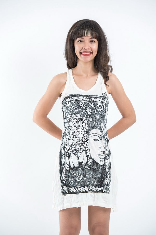 Sure Design Womens Sanskrit Buddha Tank Dress White