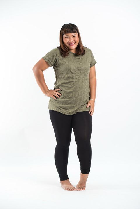 Plus Size Womens Solid Color T-Shirt in Green