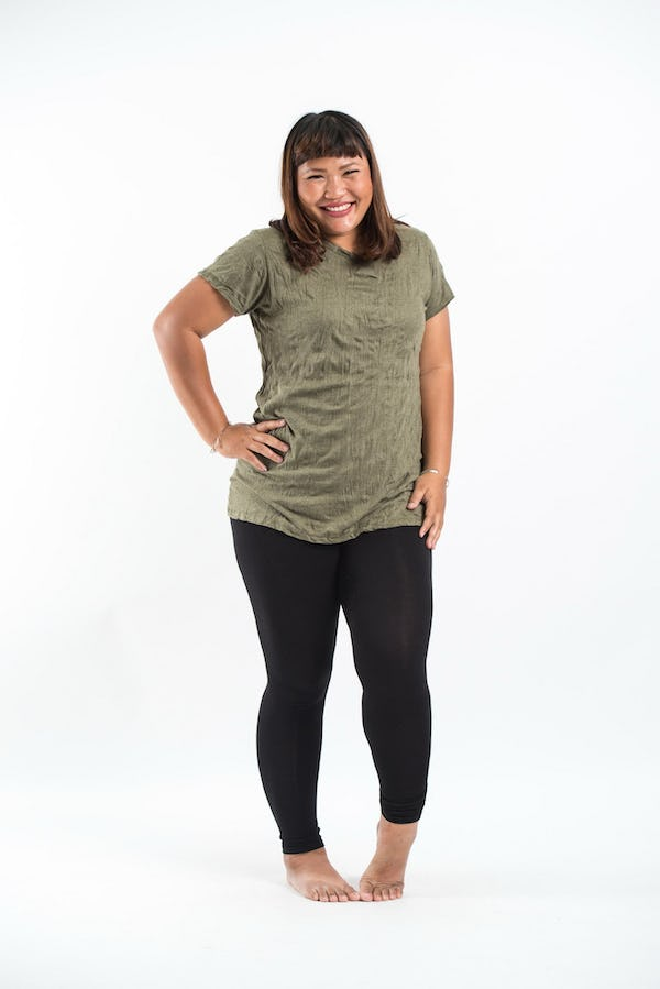 Plus Size Women's Solid T-Shirt Green