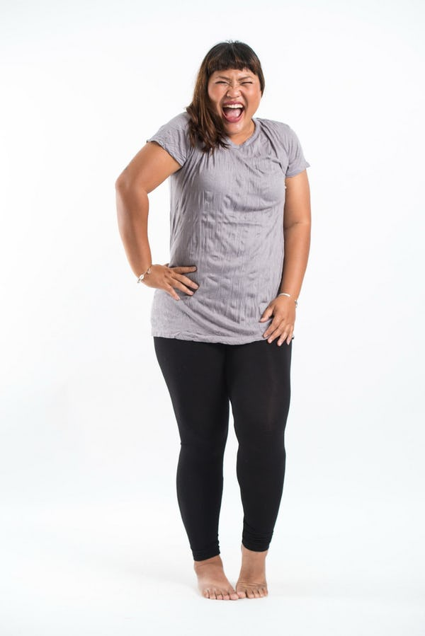 Plus Size Women's Solid T-Shirt Gray