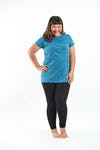 Plus Size Women's Solid T-Shirt Denim Blue