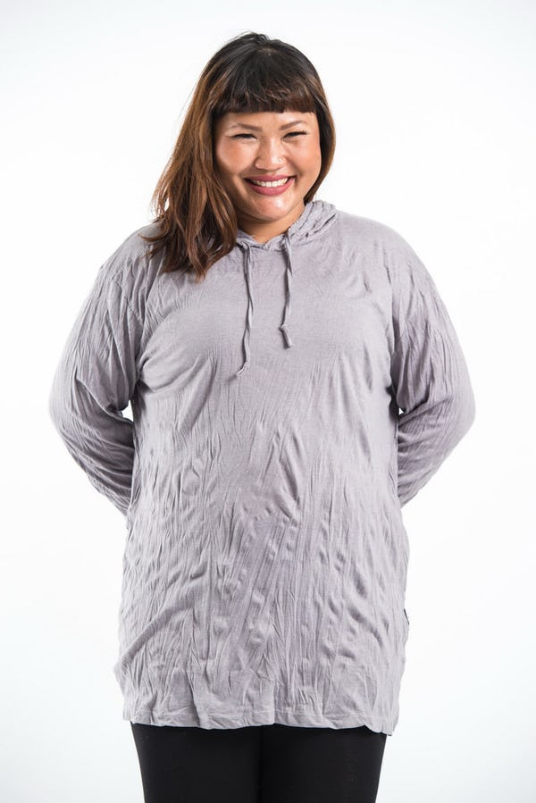 Plus Size Unisex Solid Hoodie Gray