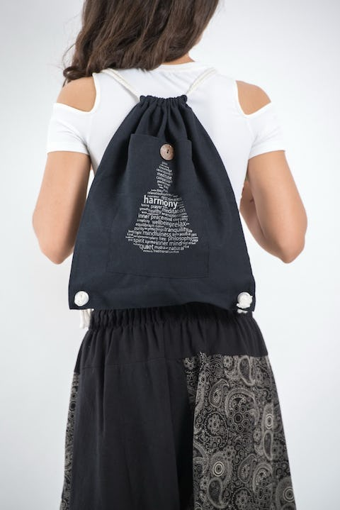 Harmony Drawstring Cotton Canvas Backpack in Silver on Black