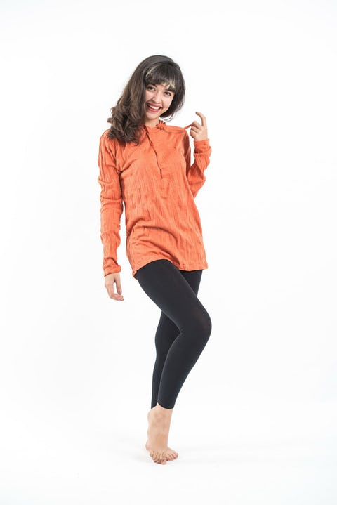 Unisex Solid Color Hoodie in Orange