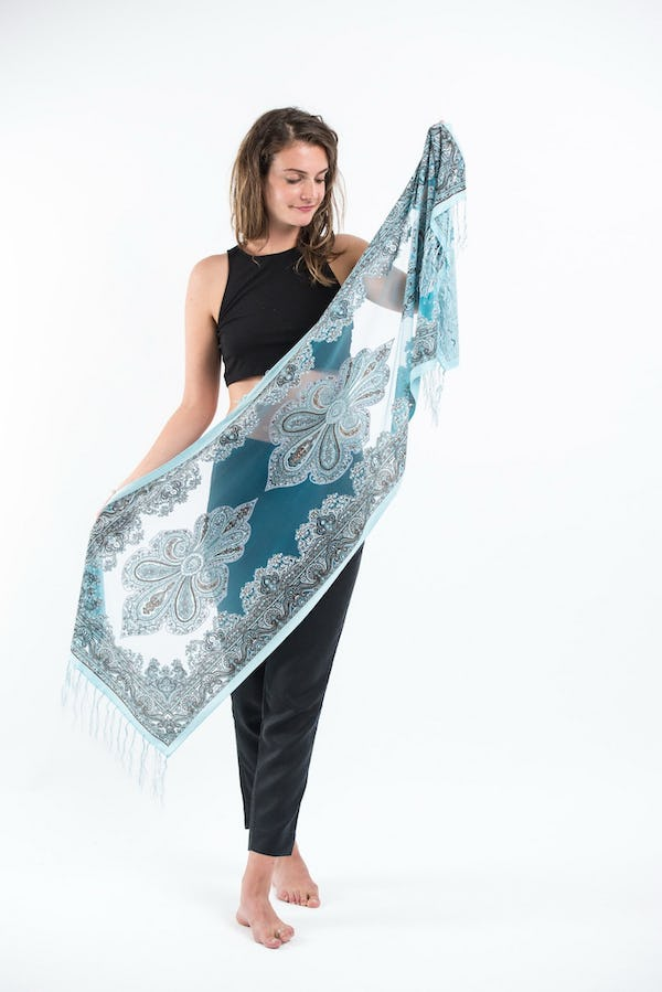Nepal Hand Made Silky Lace  Shawl Scarf Blue