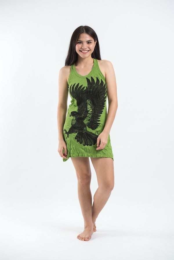 Sure Design Womens Eagle Tank Dress Lime