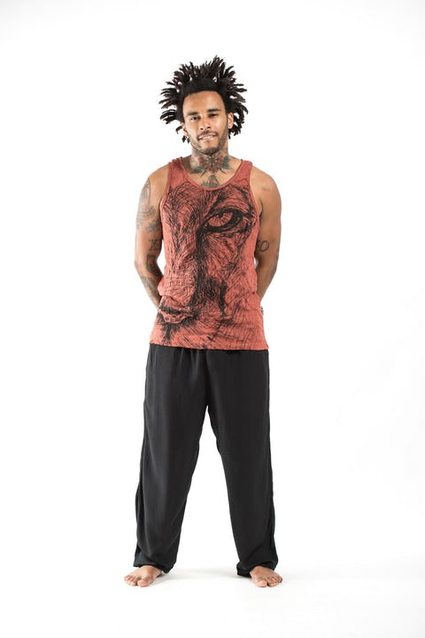 Mens Lions Eye Tank Top in Brick