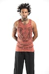 Sure Design Mens Thai Tattoo Tank Top Brick