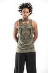 Sure Design Mens Thai Tattoo Tank Top Green