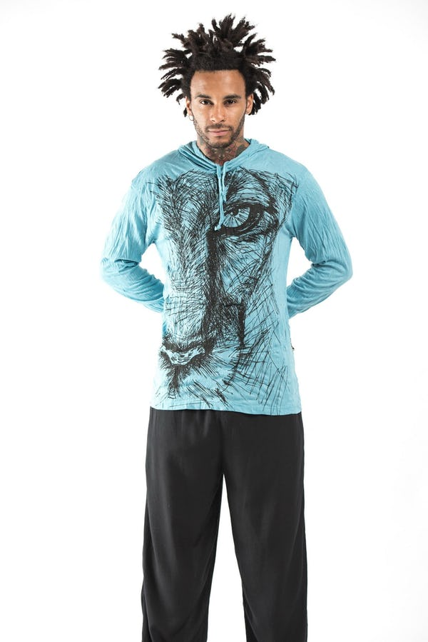 Sure Design Unisex Lions Eye Hoodie Turquoise