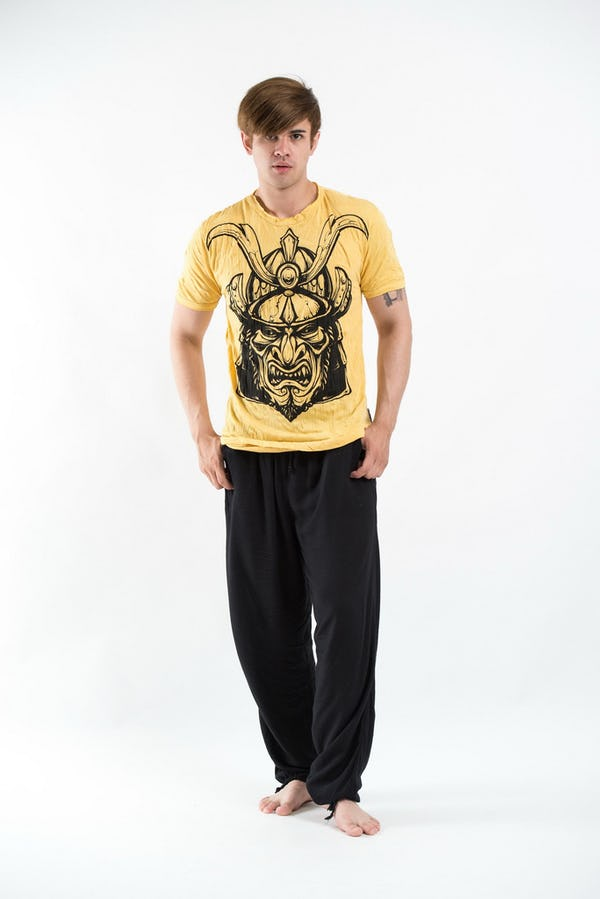 Sure Design Mens Kabuto Samurai Mask T-Shirt Yellow