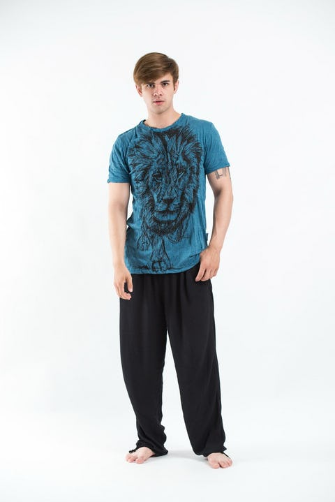 Sure Design Mens Lion King T-Shirt Denim Blue