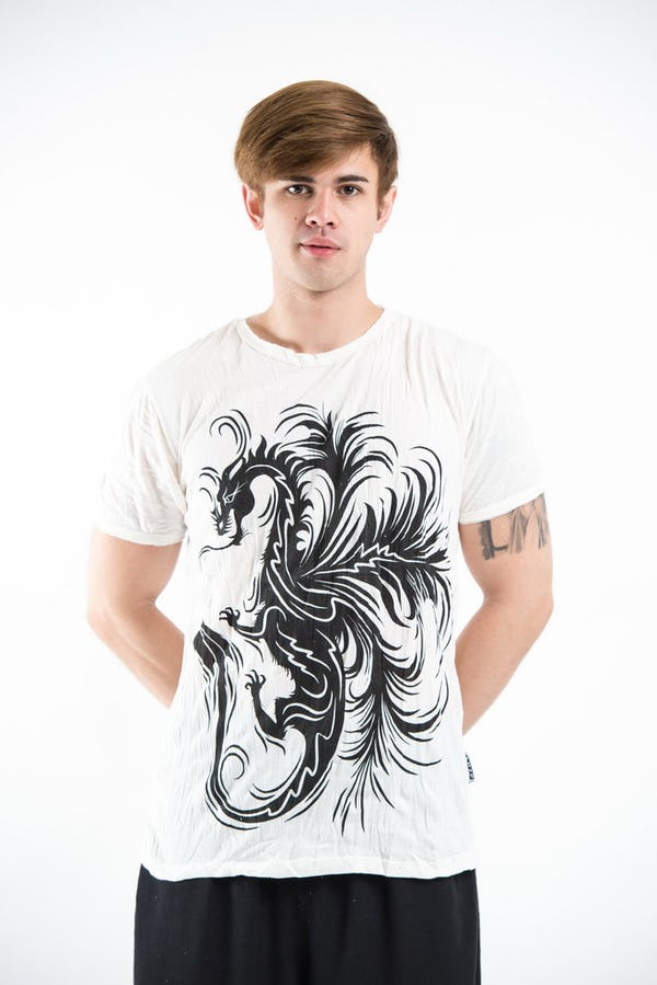 Sure Design Mens The Dragon T-Shirt White
