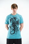 Sure Design Mens The Dragon T-Shirt Turquoise