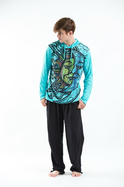 Sure Design Sun and Moon Hoodies Turquoise