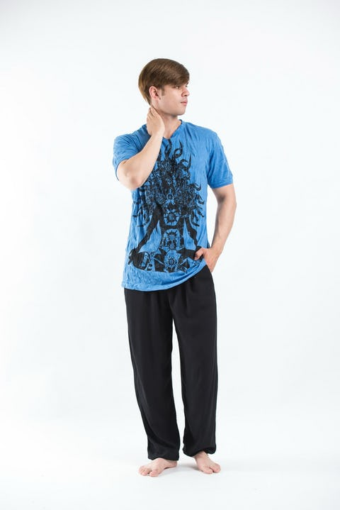 Sure Design Mens Chakra Meditation T-Shirt Blue