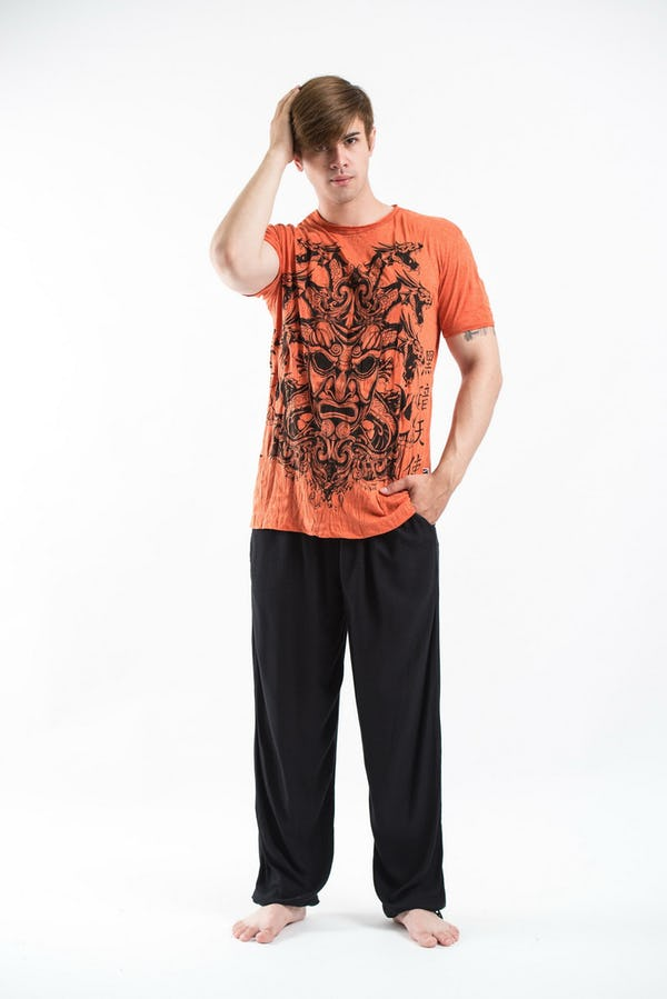 Sure Design Mens Evil Dragon Mask T-Shirt Orange