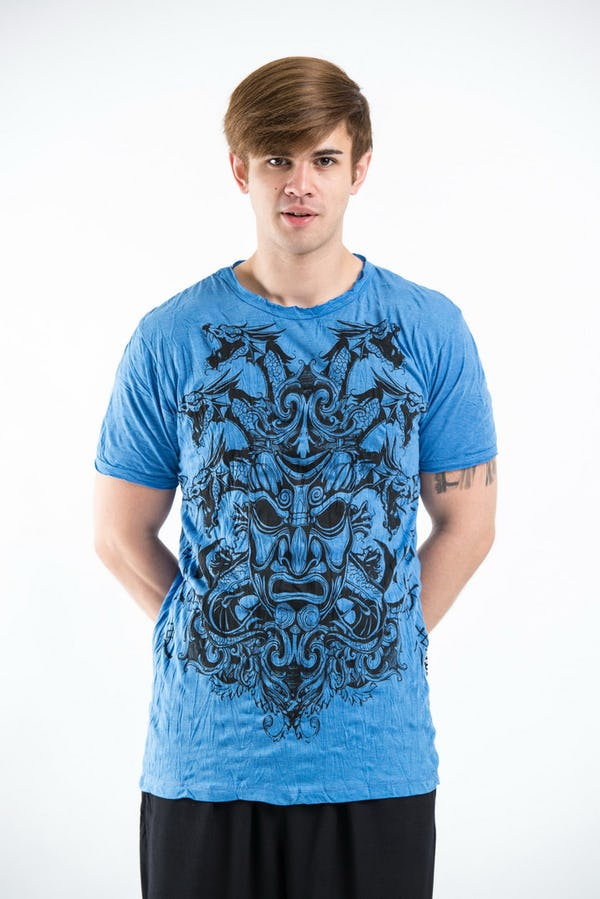 Sure Design Mens Evil Dragon Mask T-Shirt Blue