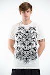 Sure Design Mens Evil Dragon Mask T-Shirt White